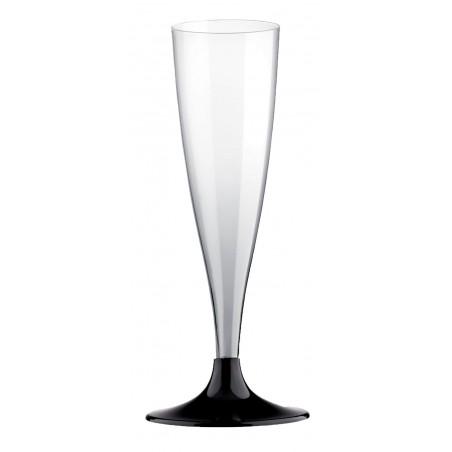 Flûte Champagne Plastique Pied Noir 140ml (20 Unités)