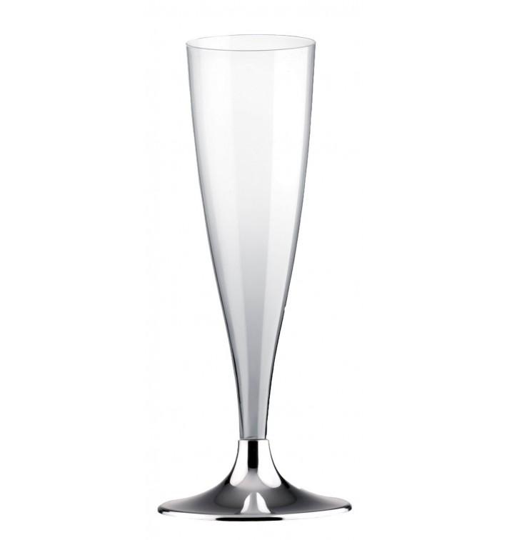 Flûte Champagne Plastique Pied Nickel Chrome 140ml 2P (400 Utés)