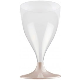 Flûte en Plastique Vin Pied Beige 200ml (20 Unités)