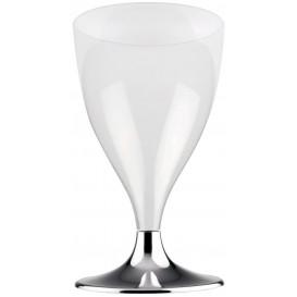 Flûte Plastique Vin Pied Argent Chrome 200ml 2P (20 Utés)