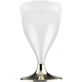 Flûte Plastique Vin Pied Or Chrome 200ml 2P (20 Utés)