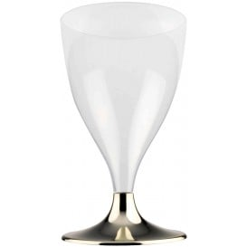 Flûte Plastique Vin Pied Or Chrome 200ml 2P (400 Utés)