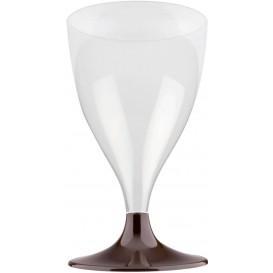 Flûte Plastique Vin Pied Marron 200ml 2P (20 Utés)