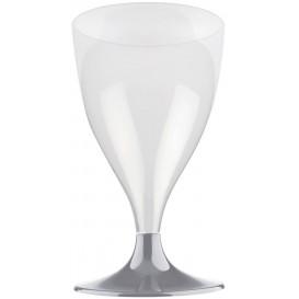 Flûte Plastique Vin Pied Gris 200ml 2P (400 Utés)