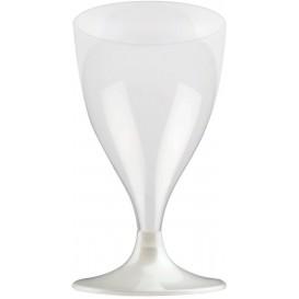 Flûte Plastique Vin Pied Blanc Perlé 200ml 2P (400 Utés)