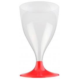 Flûte Plastique Vin Pied Rouge Transp. 200ml 2P (20 Utés)