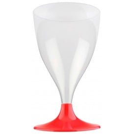 Flûte Plastique Vin Pied Rouge 200ml 2P (400 Utés)