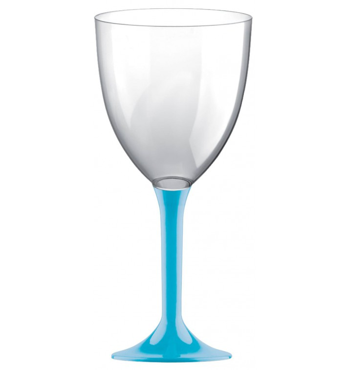 Flûte en Plastique Vin Pied Turquoise 300ml 2P (20 Utés)