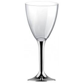 Flûte Plastique Vin Pied Argent Chrome 180ml 2P (200 Utés)