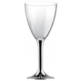 Flûte en Plastique Vin Pied Argent Chrome 300ml (20 Unités)