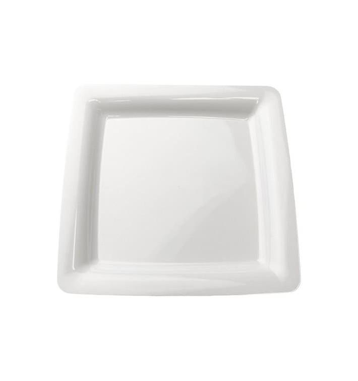 Assiette carrée Plastique dur blanc 22,5x22,5cm (20 Utés)