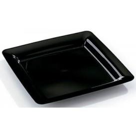 Assiette carrée Plastique dur Noir 22.5x22.5cm (20 Utés)