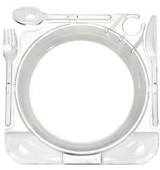 Set Assiette et Couverts Caterplate Transparent (12 Utés)