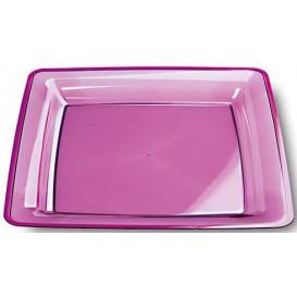 Assiette plastique carrée extra dur Aubergine 18x18cm (6 Unités)
