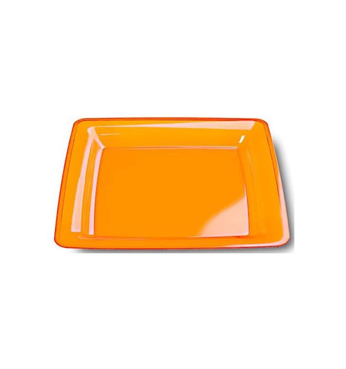 Assiette Carrée Extra Dur Orange 22,5x22,5cm (6 Utés)