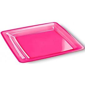 Assiette plastique carrée extra dur Framboise 22,5x22,5cm (6 Unités)