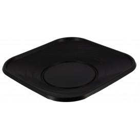 """Assiette Plastique PP """"X-Table"""" Carré Noir180mm (8 Utés)"""
