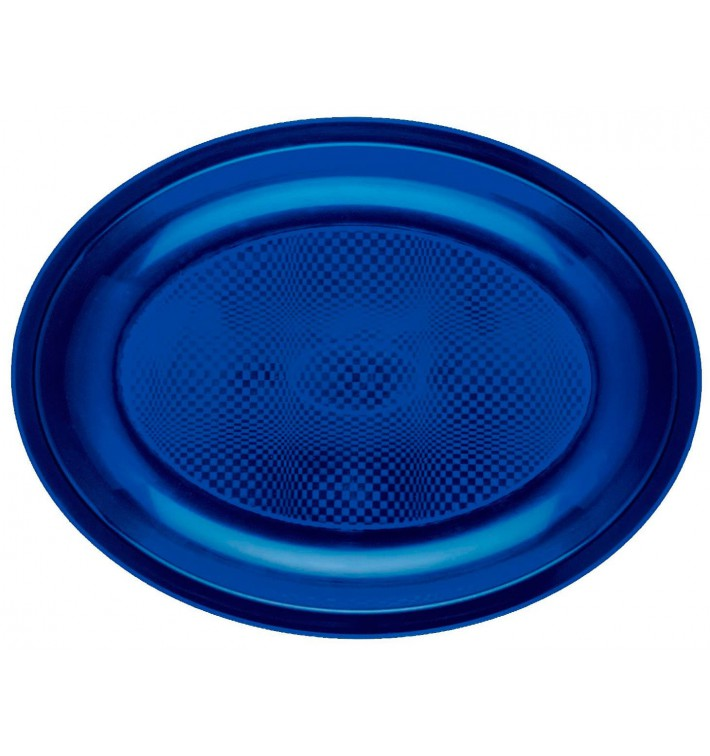 Plateau Plastique Réutilisable Ovale Bleu PP 255x190mm (50 Utés)