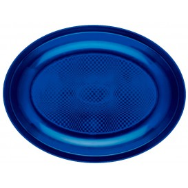Plateau Plastique Ovale Bleu Round PP 255x190mm (600 Utés)
