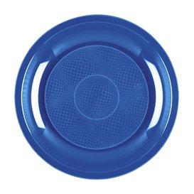 Assiette Plastique à Dessert Bleu Mediterranée Round PP Ø185mm (50 Utés)