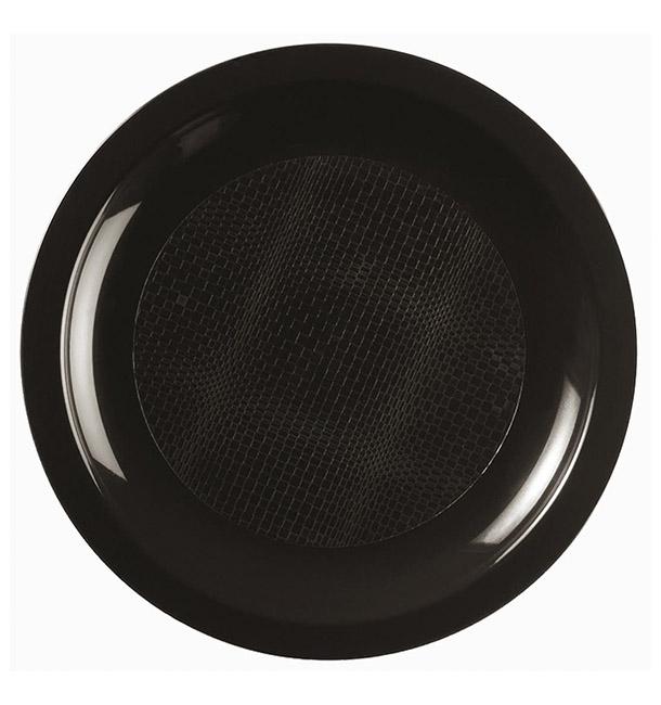 Assiette Plastique Réutilisable Plate Noir PP Ø185mm (50 Utés)