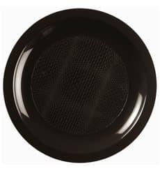 Assiette Plastique Réutilisable Plate Noir PP Ø185mm (600 Utés)