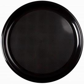 Assiette Plastique Réutilisable Pizza Noir PP Ø350mm (12 Utés)