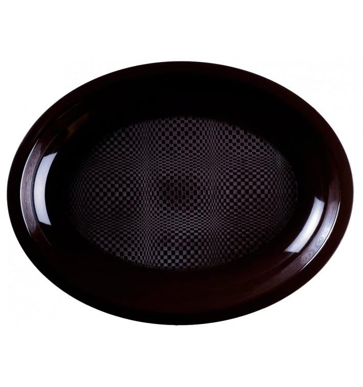 Plateau Plastique Réutilisable Ovale Noir PP 255x190mm (50 Utés)