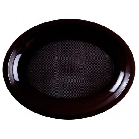 Plateau Plastique Ovale Noir Round PP 315x220mm (25 Utés)