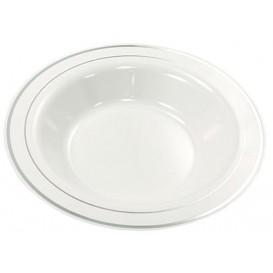 Assiette en Plastique Creuse Dur avec Liseré Argent 23cm (200 Utés)