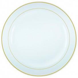 Assiette en Plastique Dur avec Liseré Or 19cm (20 Utés)