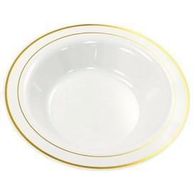 Assiette Plastique Creuse Dur Liseré Doré 23cm (20 Utés)