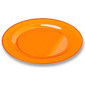 Assiette Plastique Extra Dur Orange 23cm (90 Unités)