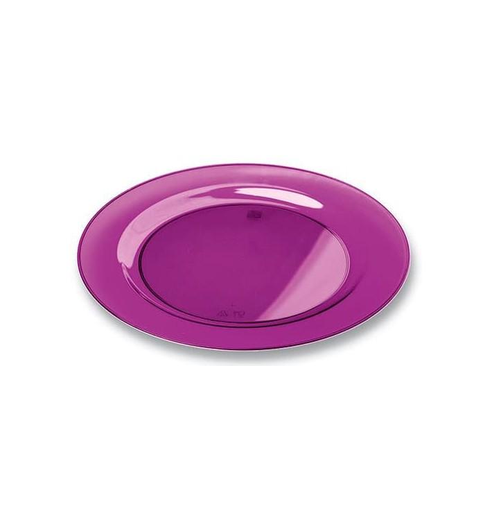 Assiette Plastique Extra Dur Aubergine 23cm (90 Unités)