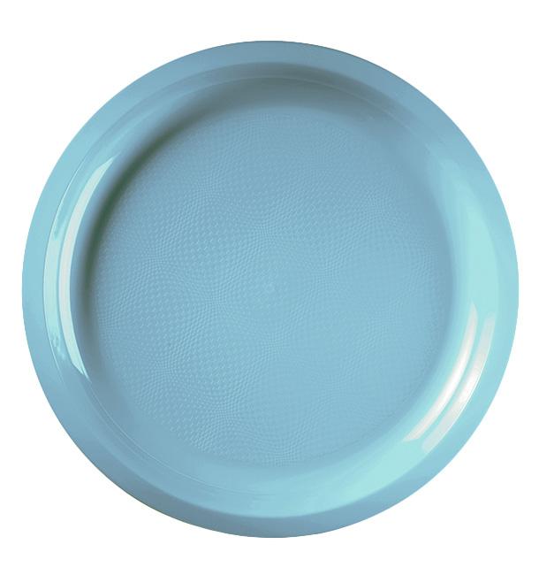 Assiette Plastique Réutilisable Turquoise PP Ø290mm (25 Utés)
