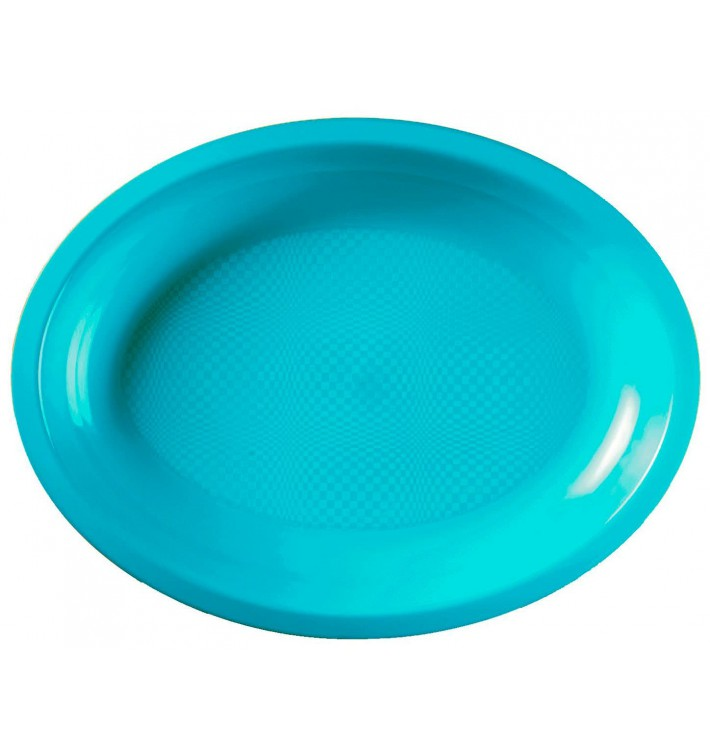 Plateau Ovale Réutilisable Turquoise PP 315x220mm (25 Utés)