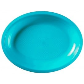 Plateau Ovale Réutilisable Turquoise PP 315x220mm (300 Utés)