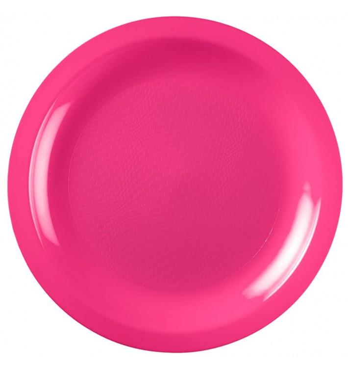 Assiette Plastique Réutilisable Plate Fuchsia PP Ø185mm (600 Utés)
