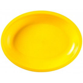 Plateau Plastique Ovale Jaune Round PP 255x190mm (50 Utés)