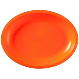 Plateau Plastique Réutilisable Ovale Orange PP 255x190mm (600 Utés)