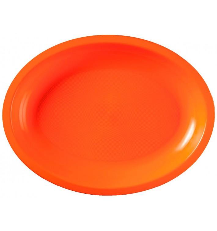 Plateau Plastique Réutilisable Ovale Orange PP 315x220mm (300 Utés)