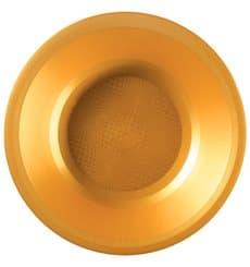 Assiette Plastique Creuse Doré Round PP Ø195mm (25 Utés)