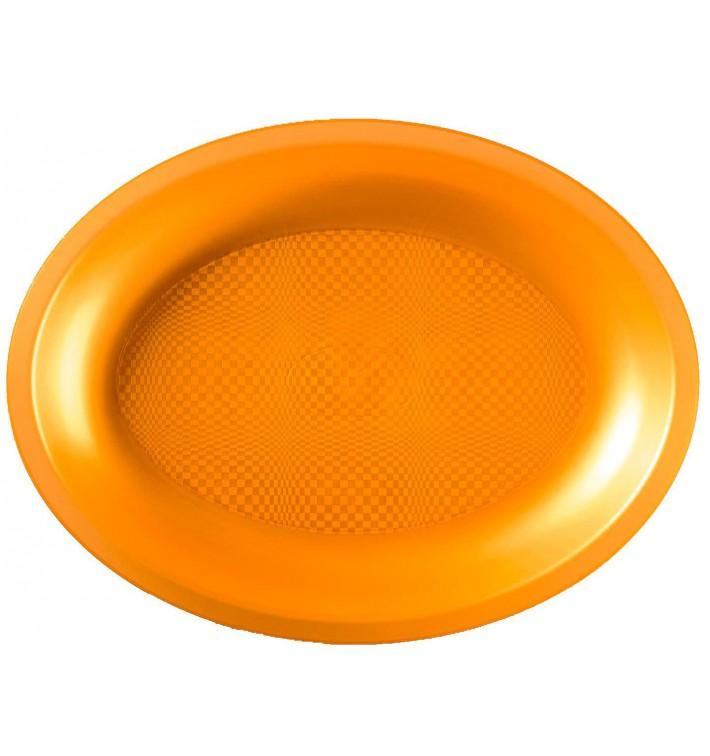 Plateau Plastique Réutilisable Ovale Or PP 315x220mm (10 Utés)