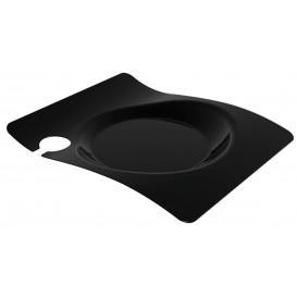 """Assiette Plastique """"Forma"""" Avec Support Noir 22x18 cm (12 Utés)"""