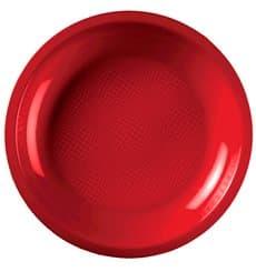 Assiette Plastique Réutilisable Plate Rouge PP Ø220mm (600 Utés)