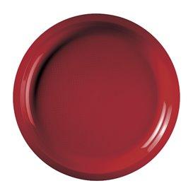 Assiette Plastique Réutilisable Rouge PP Ø290mm (25 Utés)
