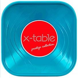 """Bol Plastique PP Carré """"X-Table"""" Tuquoise 18x18cm (120 Utés)"""