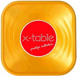 """Bol Plastique PP Carré """"X-Table"""" Or 18x18cm (8 Utés)"""