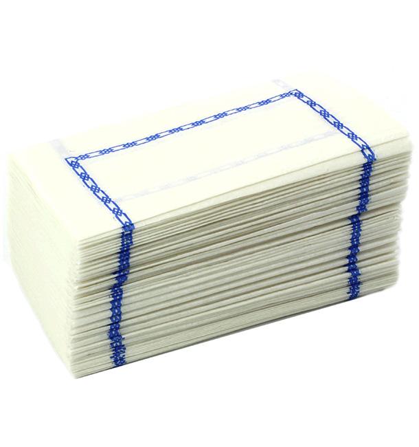 """Serviette papier """"Zigzag"""" Blanc Bordure 14x14cm (300 Unités)"""
