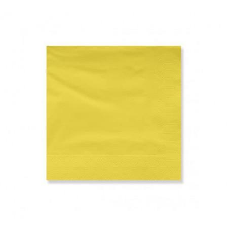 Serviette Papier à Cocktail 25x25cm Jaune (100 Utés)